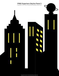 Free Superhero Printables - #Superhero building skyline, 4 different building patterns.