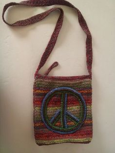 The SAK Hand Crocheted PEACE Sign - Gypsy Stripe Crossbody Bag Handbag Purse