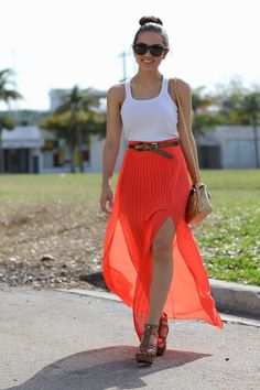 cute skirt and wedges!
