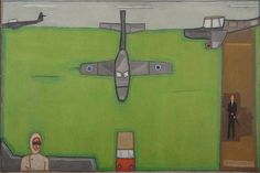 """Jerzy Nowosielski, """"Lotnisko wielkie"""", 1966, olej na płótnie, fot. Tomasz Szemalikowski, dzięki uprzejmości Muzeum Górnośląskiego w Bytomiu"""