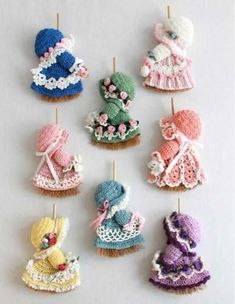 Picture of Mini Broom Dolls 1 Crochet Pattern Leaflet Crochet Pattern for Mini Broom Dolls Delight your family and friends with these crochet patterns for an adorable collection of Crochet Crafts, Crochet Dolls, Crochet Baby, Crochet Projects, Free Crochet, Knit Crochet, Diy Crafts, Crochet Keychain, Crochet Earrings