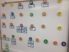 Bottle Cap Word Wall Labels and Other Bottle Cap Organizational Ideas