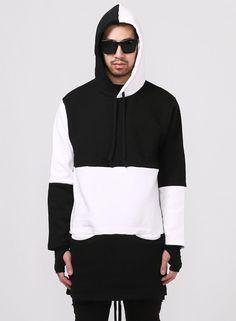 Multi Paneled Long Extended Cozy Hooded Sweatshirt $45.00