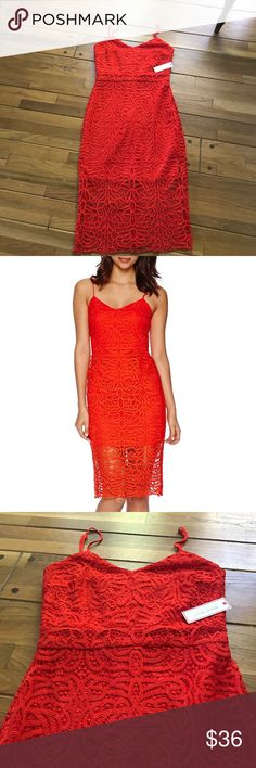 Bisou Bisou Sleeveless Lace High-Low Dress NWT orangey red lace dress with spaghetti straps. The perfect special occasion dress Bisou Bisou Dresses Midi