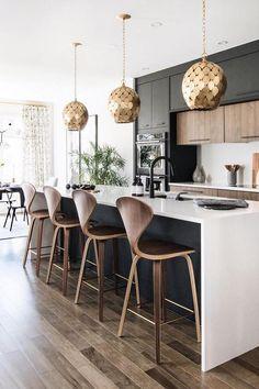 20 Ideas dark wood kitchen decor light fixtures for 2019 Wood Kitchen Island, Rustic Kitchen, New Kitchen, Kitchen Decor, Kitchen Black, Kitchen Modern, Kitchen Islands, Design Kitchen, Western Kitchen