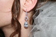 Bridal Prom Long CZ Tear and CZ Ring by AlwaysForeverJewelry, $45.00