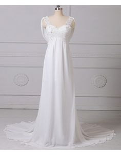 65ecc97f17f2 Find glamour empire beaded v-neck sleeveless flong length ruching chiffon  tulle wedding dresses,