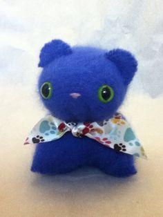 Bright blue angora kitty on Etsy, $7.00