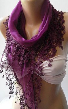 Purple  Elegance Shawl / Scarf with Lace Edge by womann on Etsy,