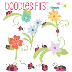 Ladybugs And Flowers Digital Clip Art for by DoodlesFirst on Etsy, $2.99  https://www.etsy.com/listing/189560817/ladybugs-and-flowers-digital-clip-art?ref=sr_gallery_4&ga_search_query=flower+digital+clip+art&ga_order=most_relevant&ga_ref=auto1&ga_page=3&ga_search_type=all&ga_view_type=gallery
