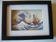 Légende de Zelda grande vague de Kanagawa 3D par 33miniatures