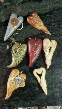 Polymer clay heart pendants by Mountain Oasis DesIgns