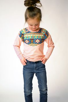 Image of The Lucille Top. Lots of looks with a different mix of patterns.