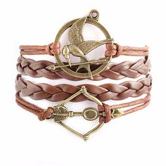 This Hunger Games-inspired bracelet, which comes with a mockingjay and bow & arrow has a rope chain and vintage bronze metals. This will complement your Boho chic looks are well as your grunge outfits.   For more details: https://rebelstyleshop.com/products/hunger-games-bracelet
