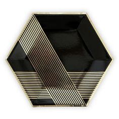 Black & Gold Hexagon Paper Plates - Perfect for New Years!