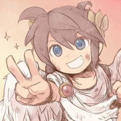 """by on DeviantArt << I actually figured out that the """"peace"""" sign really means """"Victory in Europe""""' which makes sense, him being roman-ish. Super Smash Bros, Super Mario Bros, Icarus Game, Kid Icarus Uprising, Chibi, Zelda, Anime, Fire Emblem, Game Character"""