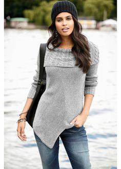 Asymetryczny sweter dzianinowy Miękki i • 89.99 zł • bonprix