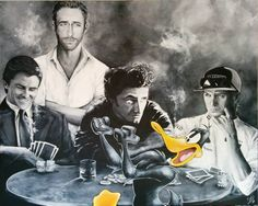 Art Collection by Nina Domaschko Sean Penn, Christian Bale, Paintings, Comics, Movie Posters, Animals, Collection, Movie, Charcoal Sketch