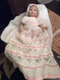 Hand crochet christening gown blessing dress infant baptism