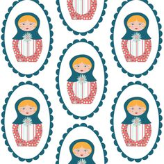 Anastasia Russian Dolls fabric by honey_in_the_wild on Spoonflower - custom fabric
