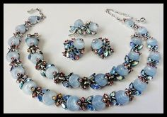Vintage Crown Trifari Shoe Button Grand Parure. Necklace Bracelet Brooch Earring Set Blue Art Glass Pink Rhinestones
