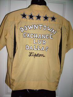 Bowling Shirt Vintage RARE 60's Imperial Costumes Downtown Exchange Club Dallas Gold Black Stars Large Rockabilly  FREE SHIP. $48.00, via Etsy.