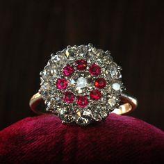 1900s Ruby and European Cut Diamond Cluster Ring, Platinum, 14K love love love love loveeeee