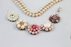 Cluster earring bracelet pink ivory pearl by madebysheri on Etsy