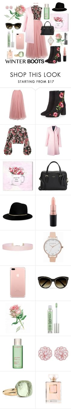 """""""Winter boots!"""" by vintagedaisy1 ❤ liked on Polyvore featuring Little Mistress, Topshop, Jill Stuart, MSGM, Oliver Gal Artist Co., Kate Spade, Janessa Leone, MAC Cosmetics, Humble Chic and Olivia Burton"""