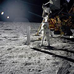 Edwin E 'Buzz' Aldrin, Jr, Lunar Module pilot, walks on the lunar surface during the Apollo 11 extravehicular activity (EVA)