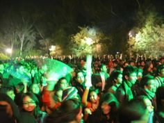 The exuberant audience at the music performance at the Jaipur Literature Festival 2014, Jaipur, Rajasthan, India