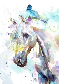 White Horse - Print by Harrison Ripley Watercolor Horse, Watercolor Animals, Horse Face Paint, White Horse Painting, Drawings Pinterest, Horse Posters, Horse Drawings, Horse Print, Equine Art
