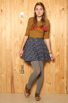 tan saddle Vans shoes - heather gray Urban Outfitters tights - navy Urban Outfit