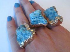 Blue Apatite Rock Hard Ring ring - gilded blue apatite adjustable ring