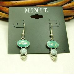 Mixit Blue and Grey Enamel Fill Silver Plated Dangle Earrings $7.20