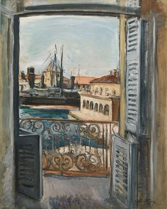 The balcony on the port - Achille-Émile Othon Friesz, 1928 French, 1879 – 1949 Oil on canvas, 92 x 73 cm. Raoul Dufy, Art And Illustration, Cara Fresca, Painting Courses, Art And Craft Design, Le Havre, Henri Matisse, Light Painting, French Artists