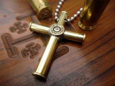 Bullet Casing Cross Pendant Necklace - Medium