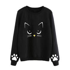 bc3ccd86d7 ISHOWTIENDA Sweatshirt Women 2018 Cat Print Plus Size Sweatshirts Cute  Pullover Casual O Neck Black Sudaderas