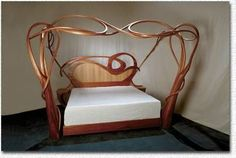Art Nouveau and Art Deco, The Nortrica Bed. Art Nouveau Interior, Art Nouveau Furniture, Art Nouveau Architecture, Art Nouveau Design, Art Nouveau Bedroom, Funky Furniture, Design Furniture, Unique Furniture, Vintage Furniture