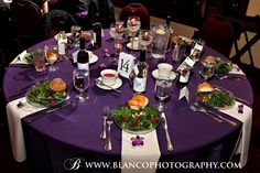 Elegant Setup on first course Simple Centerpieces, Table Settings, Elegant, Purple, Classic, Design, Wedding, Classy, Derby