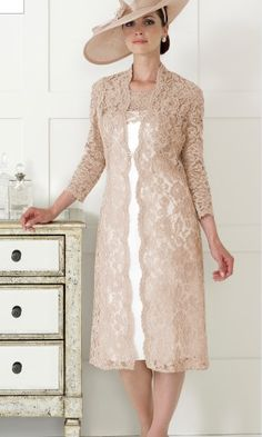 Dressed Up By Veromia Dress and Coat Beautiful Mink Lace Coat with Ivory/ Lace Matching Dress Size: Mother Of Bride Outfits, Mothers Dresses, Mother Of The Bride, Groom Outfit, Groom Dress, Mob Dresses, Fashion Dresses, Special Occasion Outfits, Occasion Wear