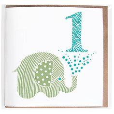Elephant Age One Card from notonthehighstreet.com