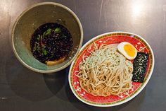 ichuan Tsukemen from A-OK Foods: ramen noodles paired with a dipping sauce made with jajangmyun (Korean black bean paste), Sichuan peppercorns and dried chilies Asian Recipes, Asian Foods, Ethnic Recipes, Black Bean Paste, Oriental Food, City Restaurants, Tasting Menu, Drink Menu, Ramen Noodles