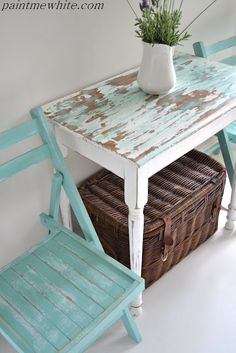 little white bistro table, beachy blue chairs - @Paint Me White