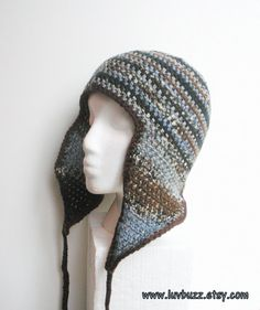 Unisex crochet  beanie with long earflaps in variegated by luvbuzz, $35.00