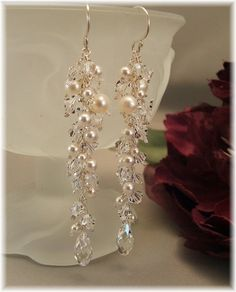 Wedding Day Earrings, Icicle Pearl Earrings, Long Cascade Earrings, White Pearls and Clear Crystal, very long indeed