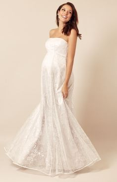 3deb38e34d6de Our Evita maternity ball gown is a shimmering sensation in white sequinned  floral tulle - magical