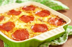 Mac and Cheese Pizza Casserole. Partially cook the noodles and mix in browned ground beef, pepperoni and shredded mozzarella. Top it all with more cheese and pepperoni, then bake until bubbly and warmed through.