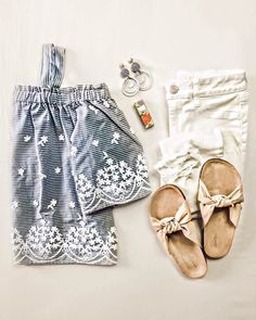 Darling top // embroidered top // chambray top // white jeans // distressed jeans // bow shoes // bow sandals // Spring outfits // Summer outfits // outfit ideas // flatlay // flatlays // flatlay ideas // Spring earrings // earrings // Summer earrings // everyday lip color // natural lip color