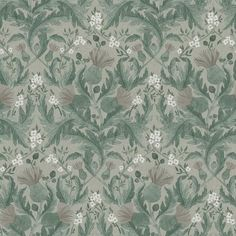 Thistle by Boråstapeter - Green - Wallpaper : Wallpaper Direct Wallpaper Online, Wallpaper Samples, Home Wallpaper, Pattern Wallpaper, Thistle Wallpaper, Green Wallpaper, Wallpaper Jungle, Papier Paint, Christmas Crafts